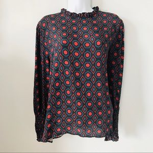 ZARA | Long Sleeve Patterned Blouse w/Ruffled Neck